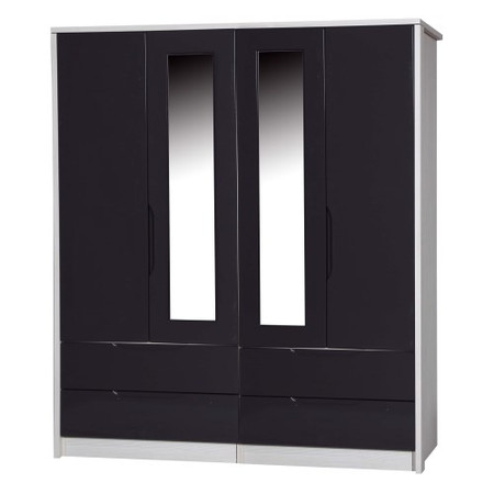 One Call Furniture Avola Premium Plus 4 Door Combi Wardrobe with Mirrors in White with Grey Gloss