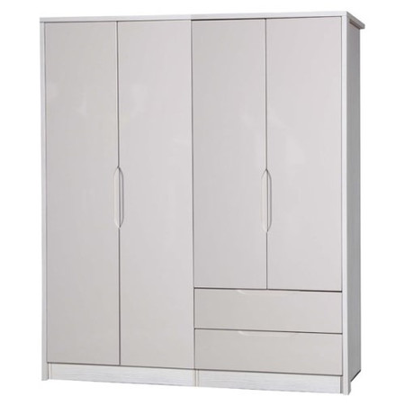 One Call Furniture Avola Premium Plus 4 Door Combi + Regular Robe in  White with Sand Gloss