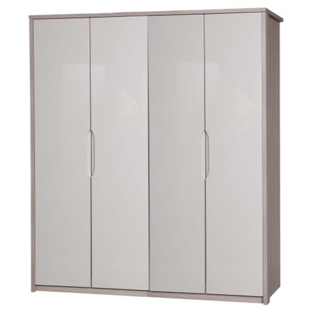 One Call Furniture Avola Premium Plus 4 Door Wardrobe in Champagne with Sand Gloss