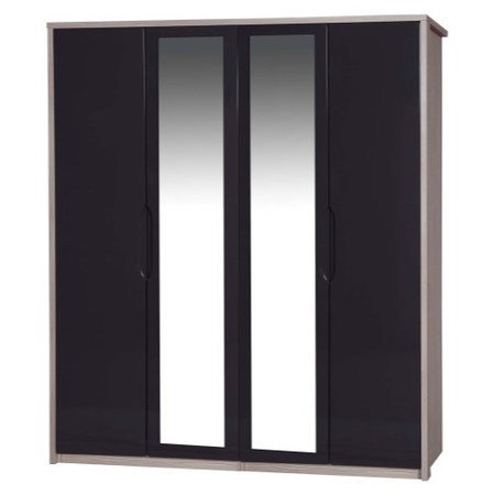 One Call Furniture Avola Premium Plus 4 Door Wardrobe with Mirrors in Champagne with Grey Gloss