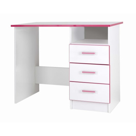 One Call Furniture Kiddi Pink Desk White Melamine and Pink Edging