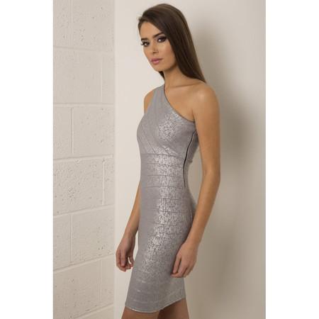 One Shoulder Bodycon Dress in Silver