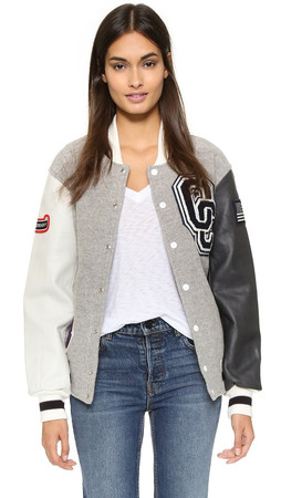Opening Ceremony Oc Classic Varsity Jacket - Light Grey Multi