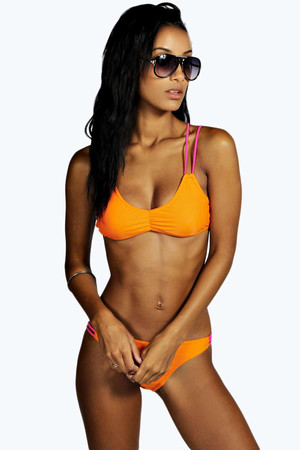 Orange Neon Strap Detail Triangle Bikini orange
