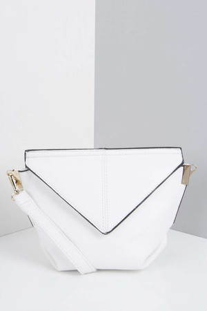 Origami Fold Over Clutch Bag white