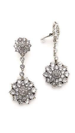 Oscar De La Renta Classic Jeweled Drop Earrings - Crystal/Silver
