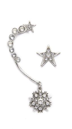 Oscar De La Renta Crystal Stars Ear Crawler & Stud - Crystal/Silver