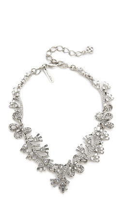 Oscar De La Renta Floral Baguette Necklace - Crystal/Silver