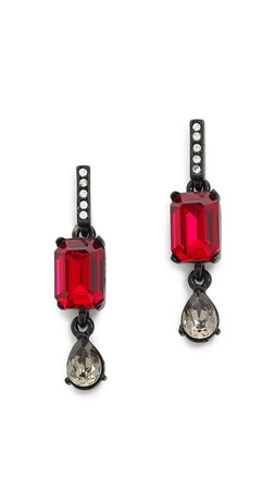 Oscar De La Renta Octagon & Pear Earrings - Red/Black
