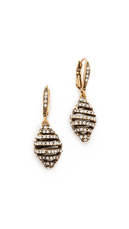 Oscar De La Renta Pave Stacked Earrings - Russian Gold