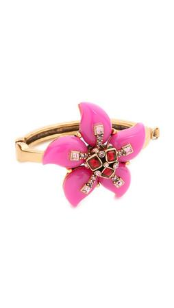 Oscar De La Renta Resin Flower Bracelet - Pink