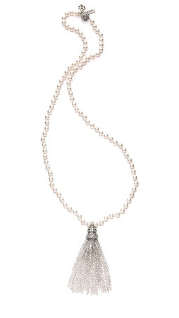 Oscar De La Renta Tassel & Glass Pearl Necklace - Crystal/Silver