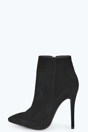 Over Ankle Pointed Stiletto Boot - black