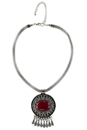 Oversize Round Stone Necklace red
