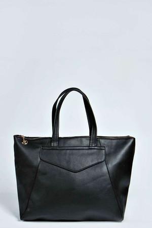 Oversized Pocket Front Shopper Bag black