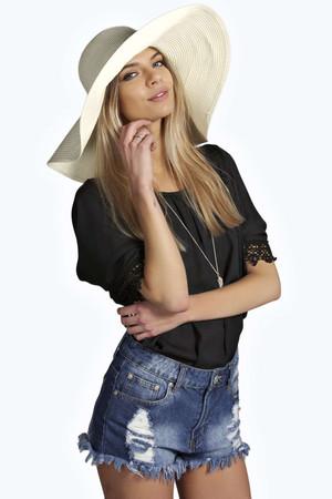 Oversized Straw Floppy Hat white