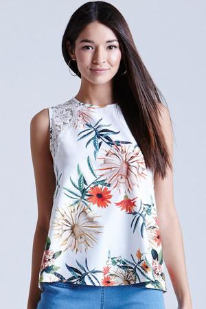 Palm Print Lace Vest Top