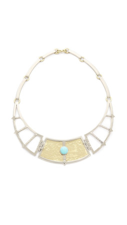 Pamela Love Frida Breastplate Necklace - White Bronze/Brass