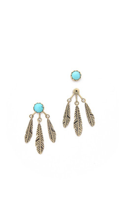 Pamela Love Frida Ear Jacket Earrings - Brass/Turquoise