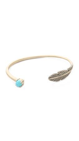 Pamela Love Pluma Cuff Bracelet - Brass/Turquoise