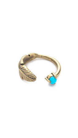 Pamela Love Pluma Ring - Brass/Turquoise