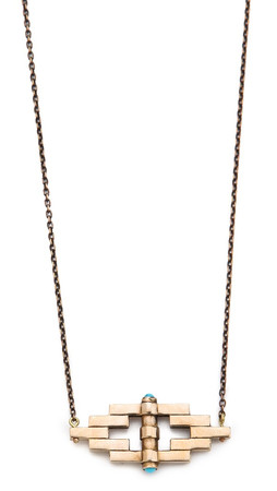 Pamela Love Reflection Pendant Necklace - Bronze/Turquoise