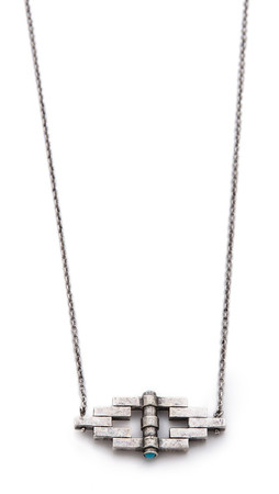 Pamela Love Small Reflection Pendant Necklace - Antique Silver/Turquoise