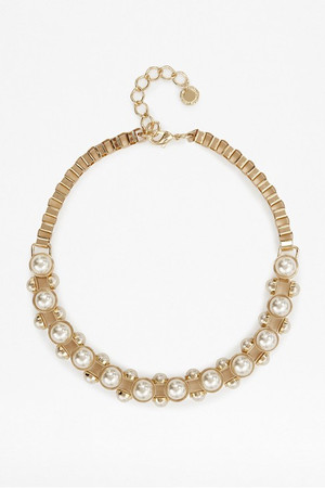 Pearl Cabochon Studded Necklace - Gold/White Pearl