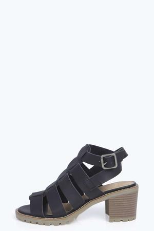 Peeptoe Fisherman Stack Heel Sandals black