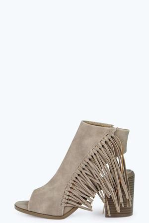 Peeptoe Fringe Trim Shoe Boot taupe