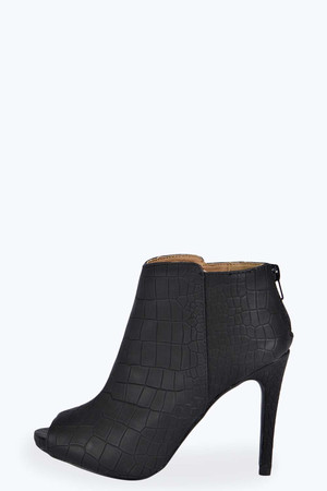 Peeptoe Shoe Boot black