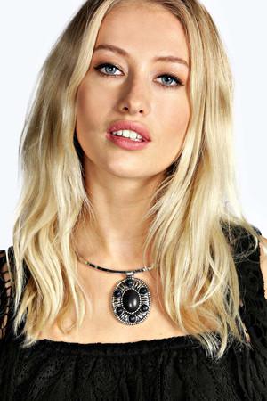Pendant Stone Choker Necklace - black