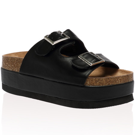 Pepper Black Flatform Slider