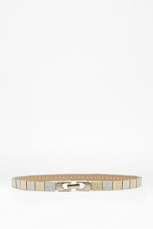 Pheobe Metallic Bar Waist Belt - METAL MULTI