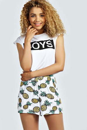 Pineapple Print Flippy Shorts - yellow