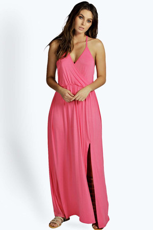 Plaited Back Wrap Front Maxi Dress coral