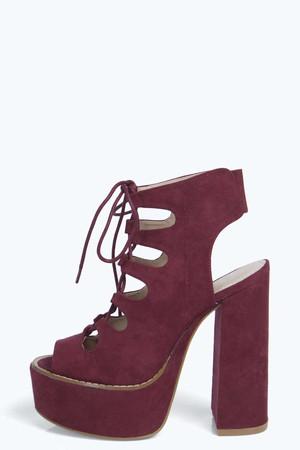 Platform Ghillie Tie Shoe Boot - wine