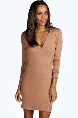 Plunge Bodycon Dress - camel