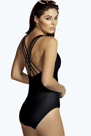 Plunge Front Cross Strap Back Swimsuit black