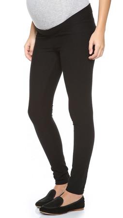 Plush Fleece Maternity Leggings - Black