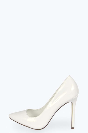 Pointed Patent Court Heels - white