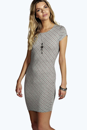 Polka Dot Cap Sleeve Mini Dress - grey