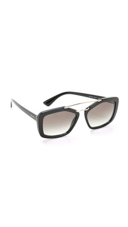 Prada Catwalk Aviator Sunglasses - Black/Grey Gradient