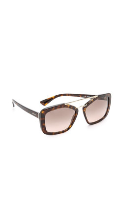 Prada Catwalk Aviator Sunglasses - Havana/Light Brown Gradient