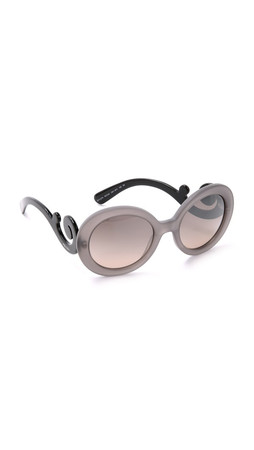 Prada Minimal Baroque Sunglasses - Dark Grey Matte Trans/Brown