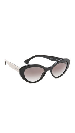 Prada Oval Sunglasses - Black/Black
