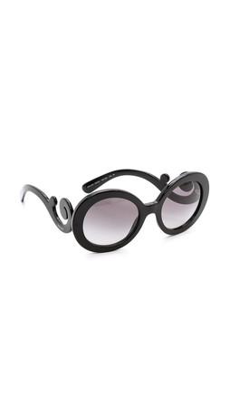 Prada Round Sunglasses - Black/Black