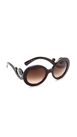 Prada Round Sunglasses - Havana/Brown