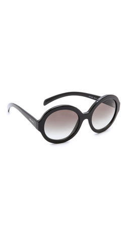 Prada Rounded Sunglasses - Black/Grey Gradient