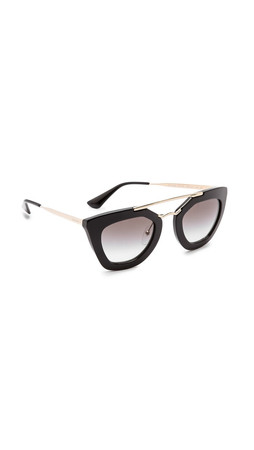 Prada Thick Frame Sunglasses - Black/Black